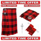 60 size Scottish Rose Scottish 8 Yard Tartan Kilt Package Kilt-Flyplaid-Flashes-Kilt Pin-Brooch