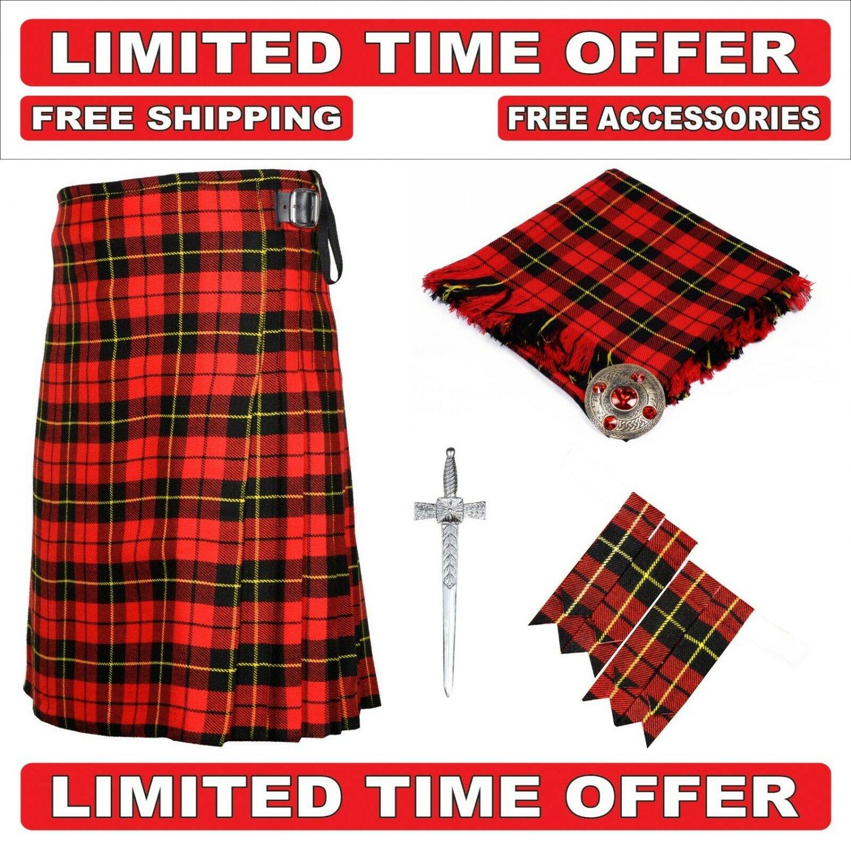 54 size Wallace Scottish 8 Yard Tartan Kilt Package Kilt-Flyplaid-Flashes-Kilt Pin-Brooch