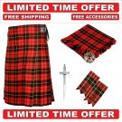 54 size Wallace Scottish 8 Yard Tartan Kilt Package Kilt-Flyplaid-Flashes-Kilt Pin-Brooch