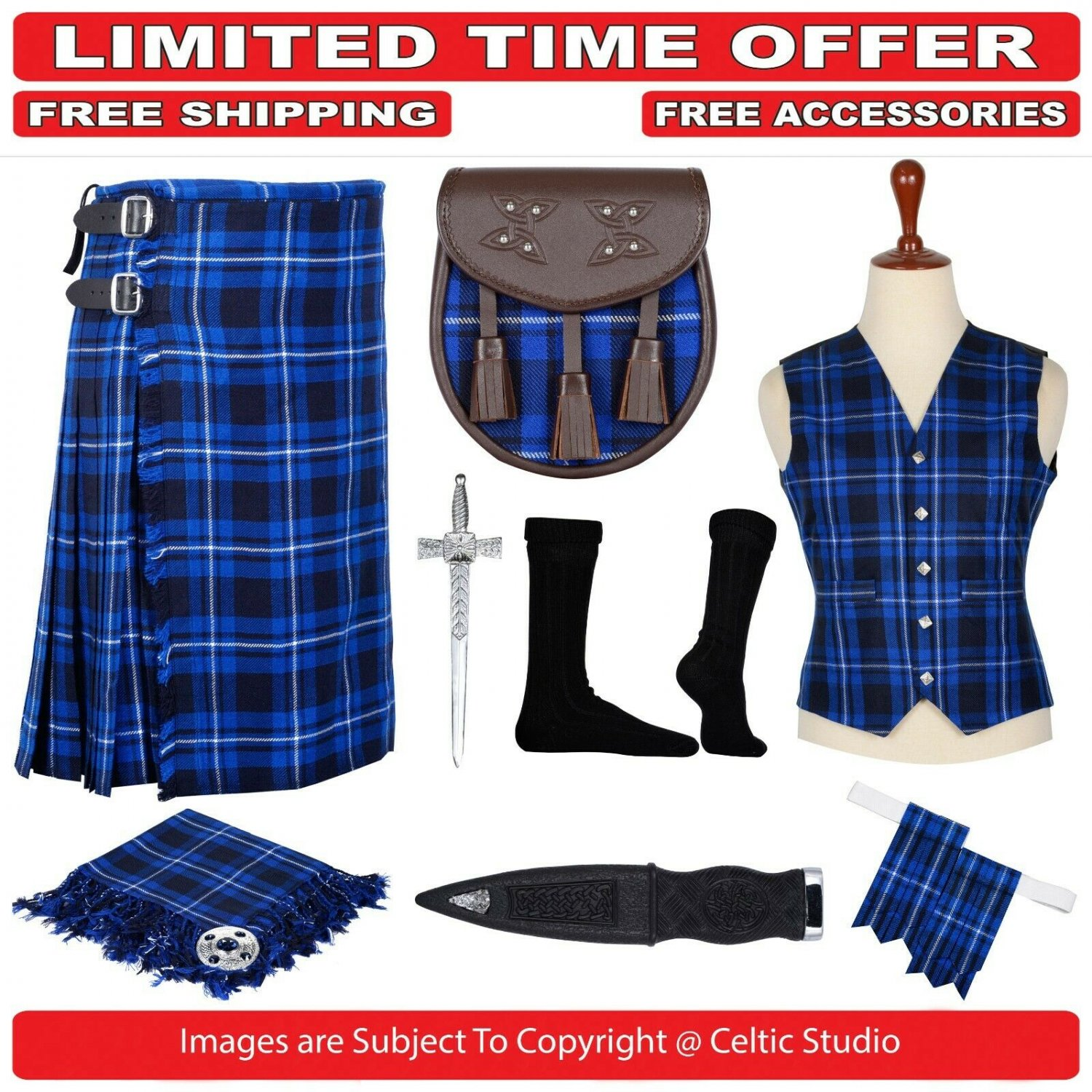 34 size Ramsey Blue Scottish Traditional Tartan Kilt With Free Shipping and 9 Accessories