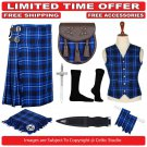 60 size Ramsey Blue Scottish Traditional Tartan Kilt With Free Shipping and 9 Accessories