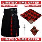 34 size Black Cotton Wallace Tartan Hybrid Utility Kilt For Men - Free Accessories - Free Shipping