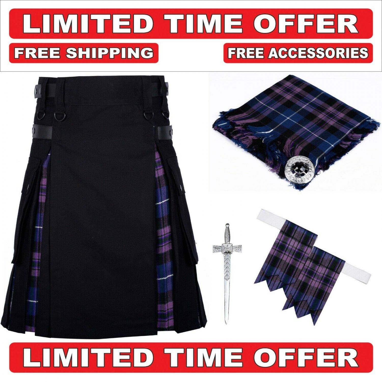 34 size Black Cotton Pride of Scotland Hybrid Utility Kilt For Men-Free Accessories - Free Shipping