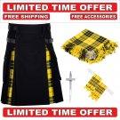34 size Black Cotton Macleod Tartan Hybrid Utility Kilt For Men-Free Accessories - Free Shipping