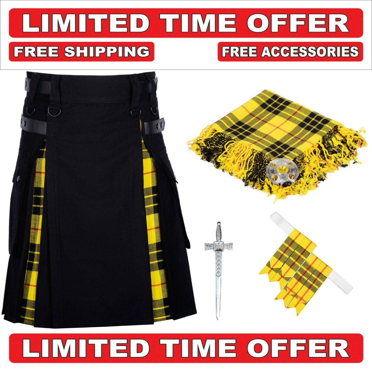 40 size Black Cotton Macleod Tartan Hybrid Utility Kilt For Men-Free Accessories - Free Shipping