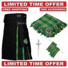 32 size Black Cotton Irish Tartan Hybrid Utility Kilt For Men-Free Accessories - Free Shipping
