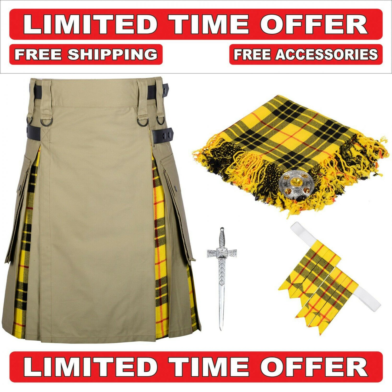 46 size Khaki Cotton Macleod Tartan Hybrid Utility Kilt For Men-Free Accessories - Free Shipping