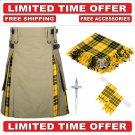 56 size Khaki Cotton Macleod Tartan Hybrid Utility Kilt For Men-Free Accessories - Free Shipping