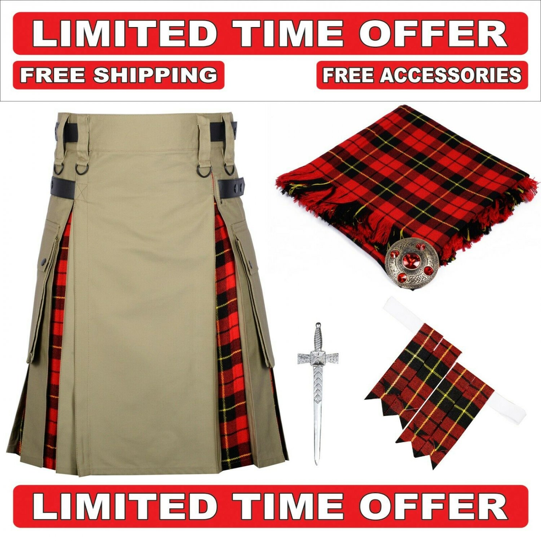 32 size Khaki Cotton Wallace Tartan Hybrid Utility Kilt For Men-Free Accessories - Free Shipping