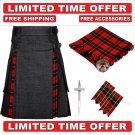 34 size Black Denim Wallace Tartan Hybrid Utility Kilt For Men-Free Accessories - Free Shipping