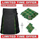 30 size Black Denim Irish Tartan Hybrid Utility Kilt For Men-Free Accessories - Free Shipping