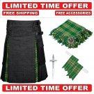58 size Black Denim Irish Tartan Hybrid Utility Kilt For Men-Free Accessories - Free Shipping