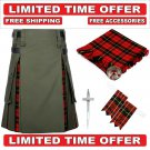58 size Olive Green Cotton Wallace Tartan Hybrid Utility Kilt For Men-Free Accessories-Free Shipping