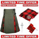 32 size Olive Green Cotton Scottish Rose Hybrid Utility Kilt For Men-Free Accessories-Free Shipping