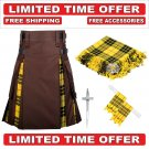 32 size Brown Cotton Macleod Tartan Hybrid Utility Kilt For Men-Free Accessories-Free Shipping