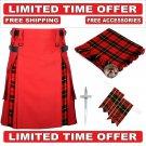 34 size Red Cotton Black Stewart Tartan Hybrid Utility Kilt For Men-Free Accessories-Free Shipping