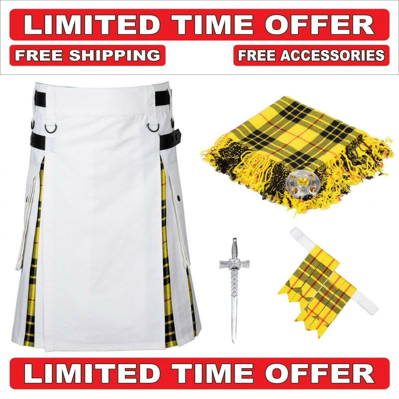 32 size White Cotton Macleod Tartan Hybrid Utility Kilt For Men-Free Accessories-Free Shipping