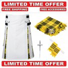 34 size White Cotton Macleod Tartan Hybrid Utility Kilt For Men-Free Accessories-Free Shipping