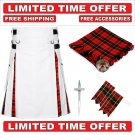 56 size White Cotton Wallace Tartan Hybrid Utility Kilt For Men-Free Accessories-Free Shipping