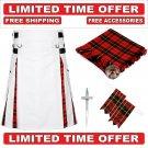 58 size White Cotton Wallace Tartan Hybrid Utility Kilt For Men-Free Accessories-Free Shipping