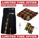 56 size Black Cotton Buchanan Tartan Hybrid Utility Kilt For Men-Free Accessories-Free Shipping