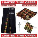 58 size Black Cotton Buchanan Tartan Hybrid Utility Kilt For Men-Free Accessories-Free Shipping