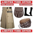 30 Size Men's Cotton Utility Scottish Kilt With Free Accessories and Free Shipping
