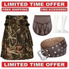 56 Size Men's Cotton Utility Scottish Kilt With Free Accessories and Free Shipping