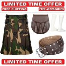 44 Size Men's Cotton Utility Scottish Kilt With Free Accessories and Free Shipping