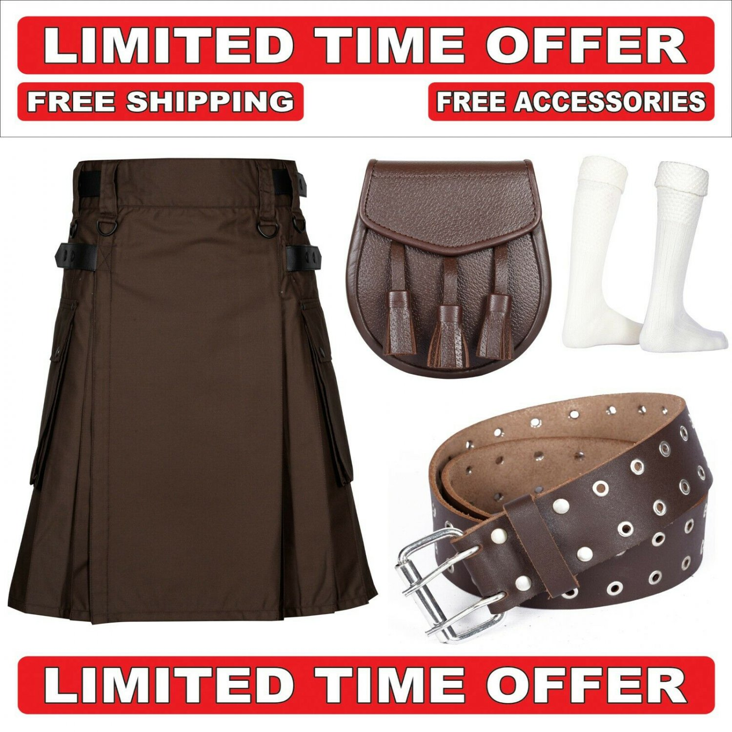 40 Size Men's Cotton Utility Scottish Kilt With Free Accessories and Free Shipping
