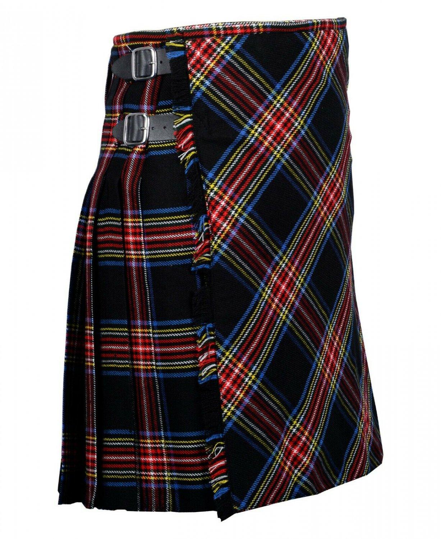 32 inches waist Bias Apron Traditional 5 Yard Scottish Kilt for Men - Black Stewart Tartan