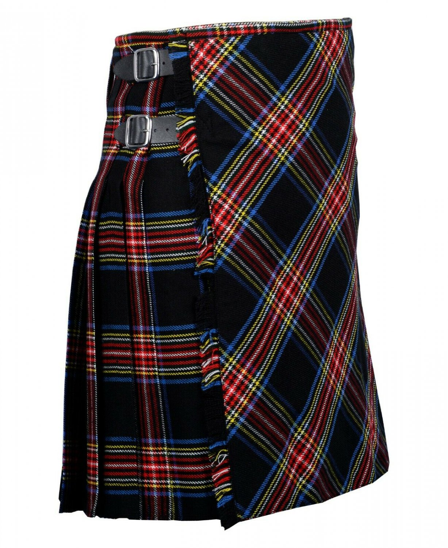 50 inches waist Bias Apron Traditional 5 Yard Scottish Kilt for Men - Black Stewart Tartan