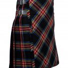 50 inches waist Bias Apron Traditional 5 Yard Scottish Kilt for Men - Black Stewart Tartan