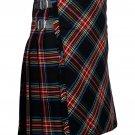 58 inches waist Bias Apron Traditional 5 Yard Scottish Kilt for Men - Black Stewart Tartan