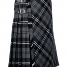 34 inches waist Bias Apron Traditional 5 Yard Scottish Kilt for Men - Grey Watch Modern Tartan