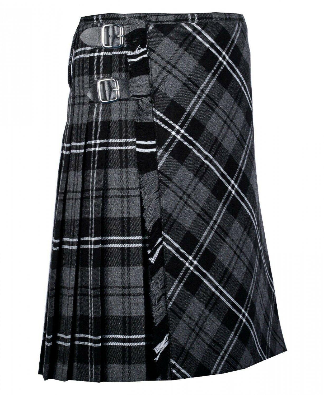 52 inches waist Bias Apron Traditional 5 Yard Scottish Kilt for Men - Grey Watch Modern Tartan