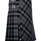 56 inches waist Bias Apron Traditional 5 Yard Scottish Kilt for Men - Grey Watch Modern Tartan