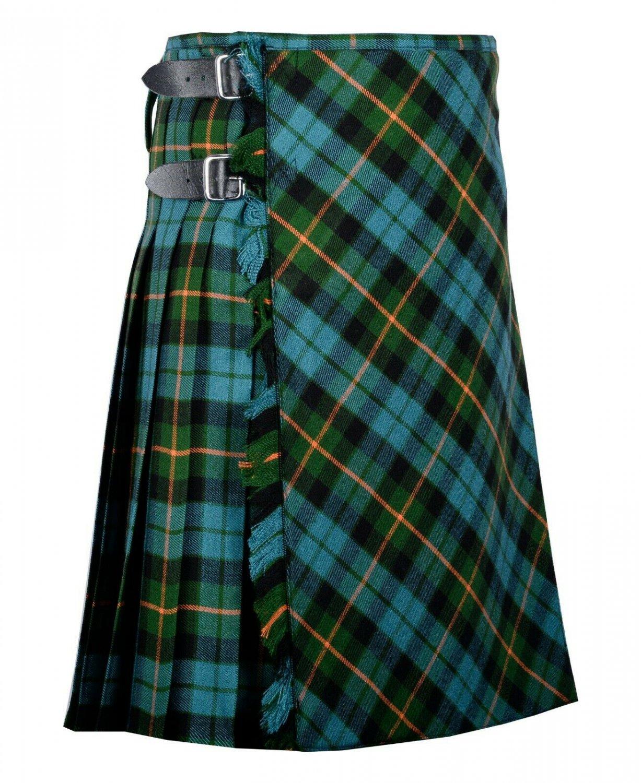 46 inches waist Bias Apron Traditional 5 Yard Scottish Kilt for Men - Gunn Ancient Tartan