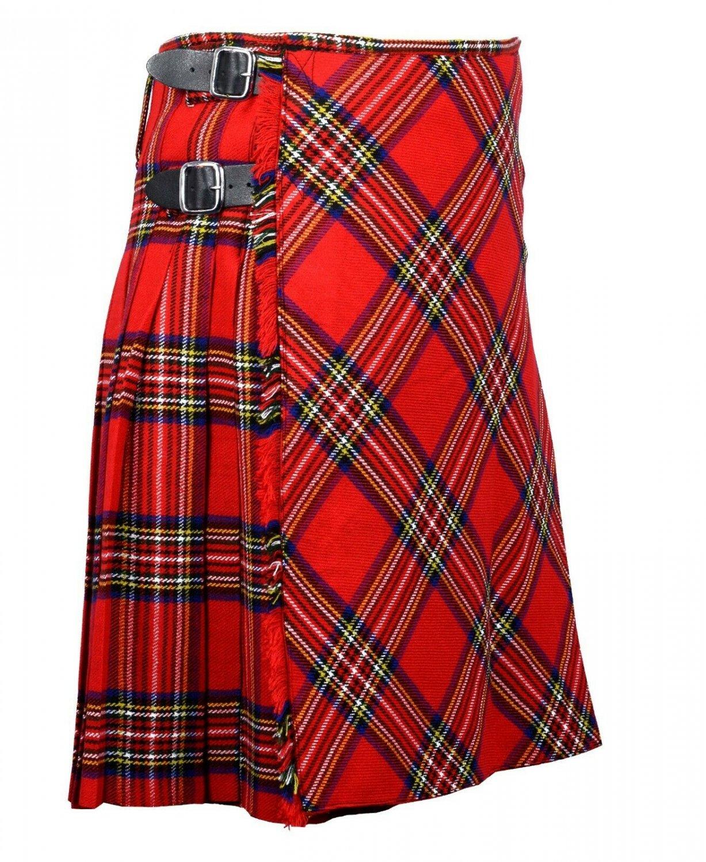 60 inches waist Bias Apron Traditional 5 Yard Scottish Kilt for Men - Royal Stewart  Tartan