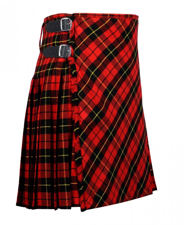 44 inches waist Bias Apron Traditional 5 Yard Scottish Kilt for Men - Wallace Tartan