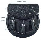 Premium Black Leather Scottish Semi Dress Sporran - Thistle Embossed Pattern
