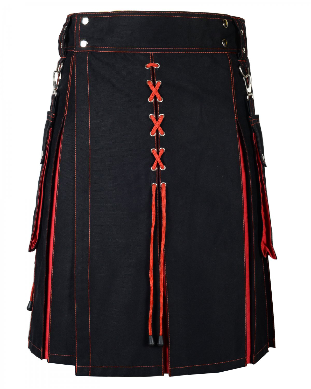30 Inches Waist New Handmade Red and Black Hybrid Cotton Utility Kilt for Men