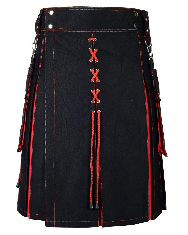 42 Inches Waist New Handmade Red and Black Hybrid Cotton Utility Kilt for Men