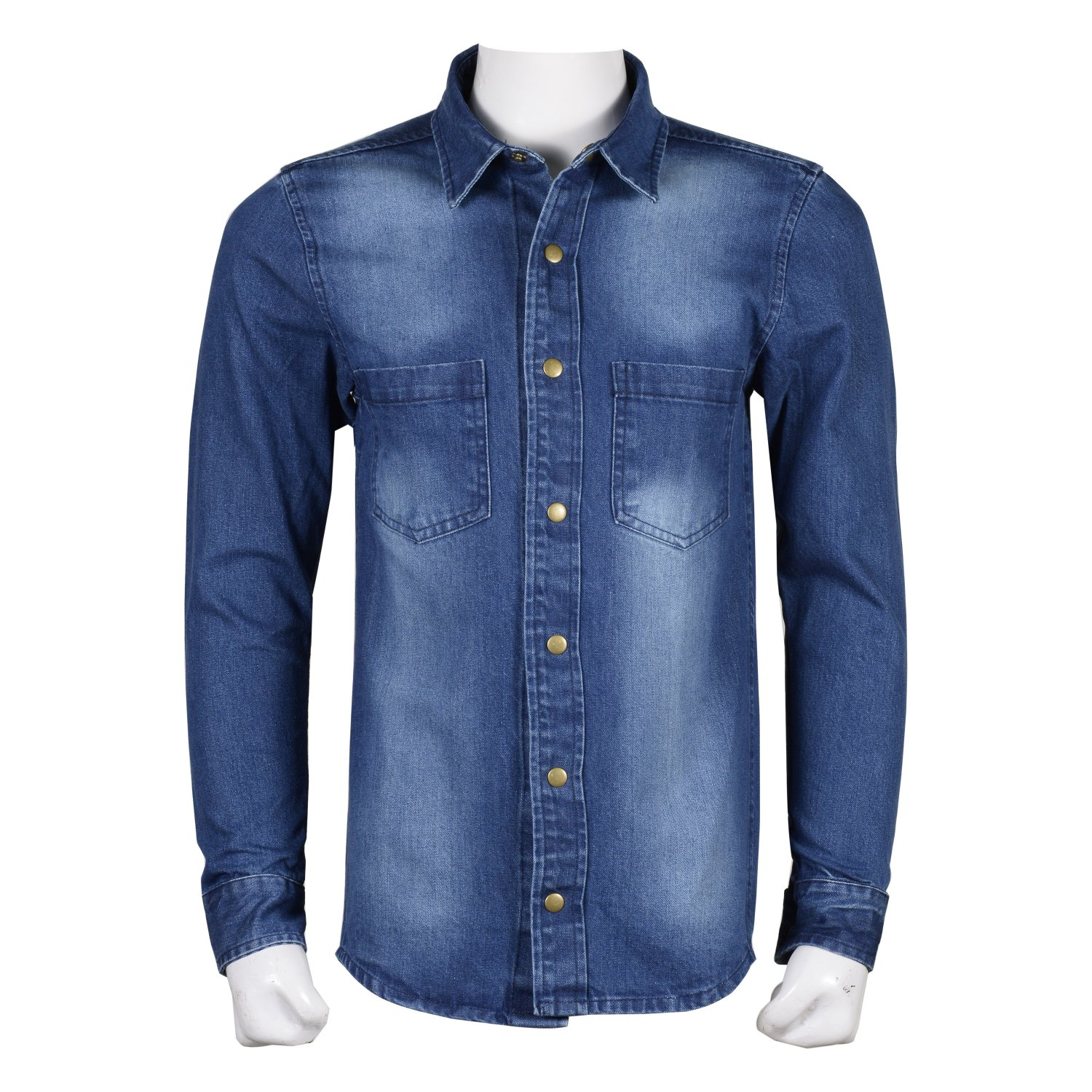 Small Men's Casual Button Down Blue Denim Full Sleeve Shirt