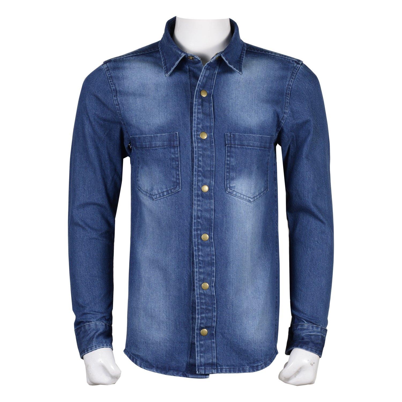 X Large Size Men's Casual Button Down Blue Denim Full Sleeve Shirt