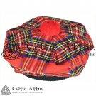New Handmade Scottish Tam o' shanter Flat Bonnet Hat / Tammie Cap In Clan Tartan Royal Stewart