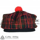 New Handmade Scottish Tam o' shanter Flat Bonnet Hat / Tammie Cap In Clan Tartan Macdonald