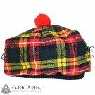 New Handmade Scottish Tam o' shanter Flat Bonnet Hat / Tammie Cap In Clan Tartan Buchanan