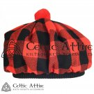 New Handmade Scottish Tam o' shanter Flat Bonnet Hat / Tammie Cap In Clan Tartan Red Black Rob Roy
