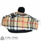 New Handmade Scottish Tam o' shanter Flat Bonnet Hat / Tammie Cap Tartan Campbell Of Thompson